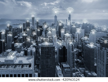 chicago blue tone city scape and wifi network connection concept - stock photo