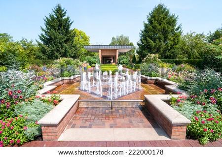 Chicago Botanic Garded, The Circle garden area - stock photo