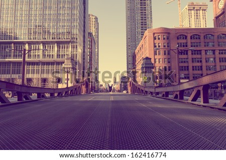 Chicago Bridge - Vintage Picture Effect  - stock photo