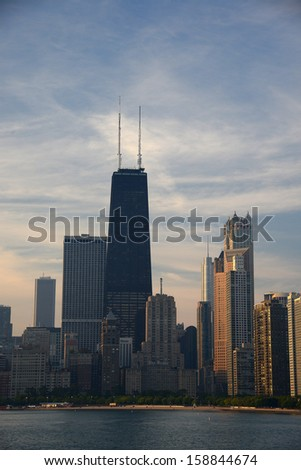 chicago building near lake michigan in the morning - stock photo