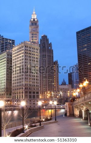 Chicago Buildings - Downtown along the Chicago River - stock photo