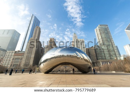 CHICAGO - CIRCA JANUARY 2018: Cloud Gate mirror sculpture in Millenium Park