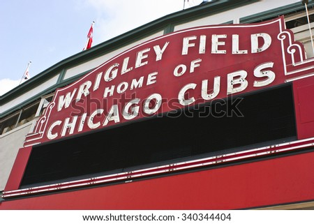 Chicago - Circa September 2008: Wrigley Field Home of Chicago Cubs - stock photo