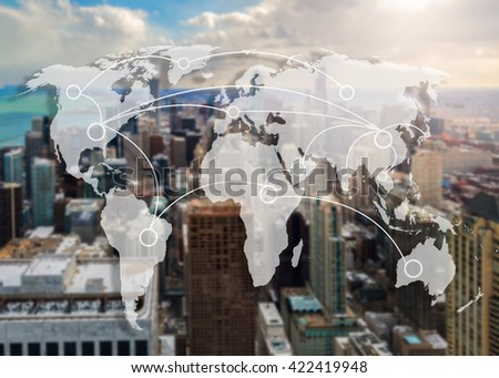 chicago city and world map connection concept - stock photo