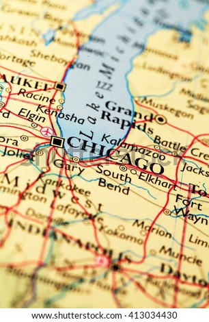 Chicago City Map on atlas world map