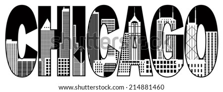 Chicago City Skyline Panorama Black Text Outline Silhouette Isolated on White Background Illustration - stock photo