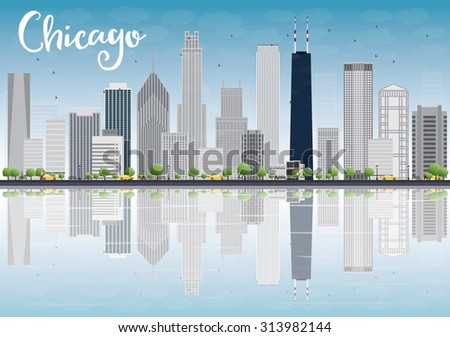 Chicago city skyline with grey skyscrapers and reflections. Business travel and tourism concept with place for text. Image for presentation, banner, placard and web site