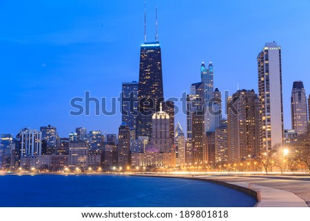 Chicago city urban skyscraper at twilight - stock photo
