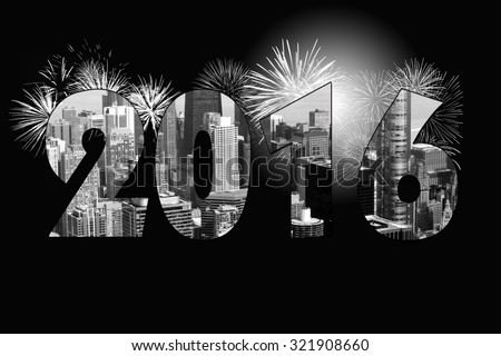 Chicago city with 2016 New Year celebration fireworks on black  - stock photo