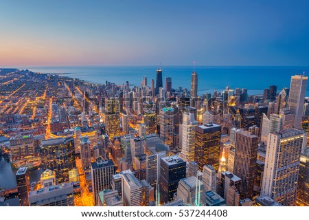 Chicago. Cityscape image of Chicago downtown during twilight blue hour.