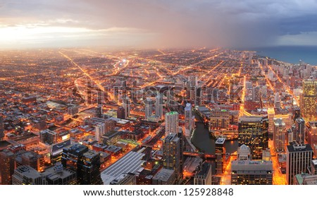 Chicago downtown aerial panorama view at dusk with skyscrapers and city skyline at Michigan lakefront. - stock photo