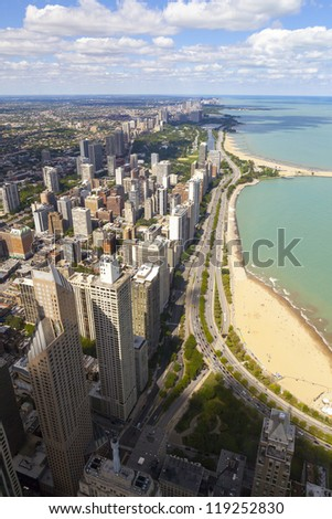 Chicago Downtown Aerial View - stock photo