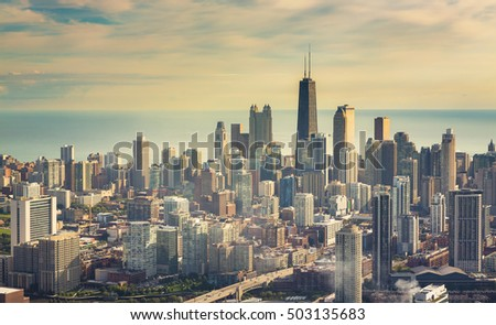 Chicago Downtown- Aerial View with vintage colors