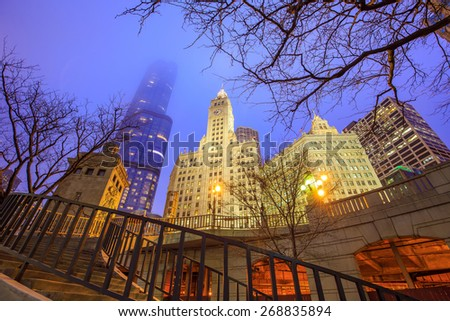 Chicago downtown and Chicago River at night. - stock photo