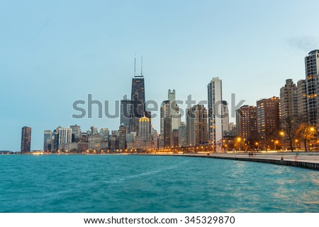 Chicago downtown and Lake Michigan at dusk - stock photo