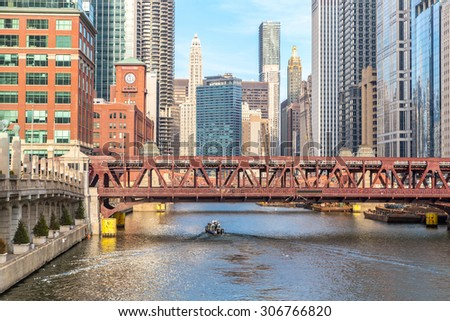 Chicago downtown and River with bridges - stock photo
