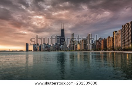 Chicago Downtown beautiful sunrise with water reflections - stock photo