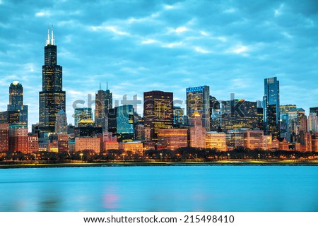 Chicago downtown cityscape at sunset - stock photo