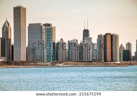Chicago downtown cityscape in the morning - stock photo