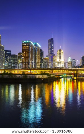 Chicago downtown cityscape in the night - stock photo