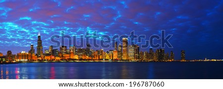 Chicago downtown cityscape panorama at sunset - stock photo