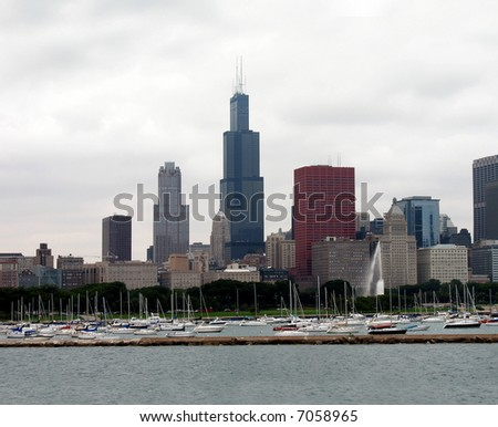 Chicago downtown in cloudy day