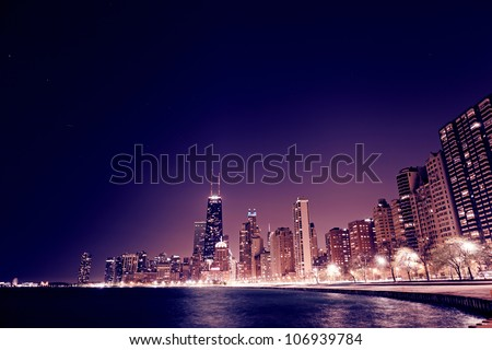 Chicago Downtown in the night - stock photo