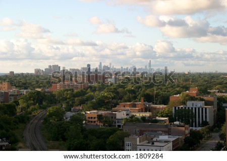 Chicago Downtown on the Horizon - View from Evanston - stock photo