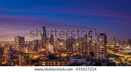 Chicago Downtown panorama at dusk, scenic color sky