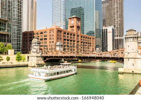Chicago downtown riverfront, office buildings and lifestyle scene - stock photo