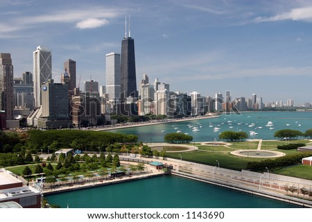 Chicago downtown seen from Navy Pier. - stock photo