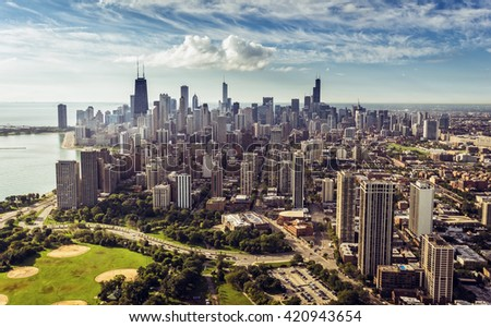 Chicago Downtown Skyline aerial  view , vintage colors - stock photo
