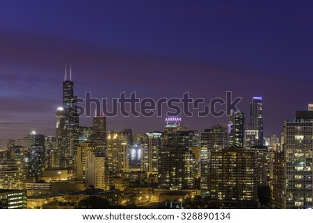 Chicago Downtown skyline at dusk  - stock photo