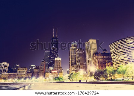 Chicago Downtown Skyline at Night - stock photo