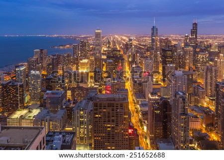 Chicago downtown skyline at night, Illinois - stock photo