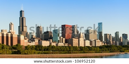 Chicago downtown Skyline at sunrise including lake shore drive - stock photo