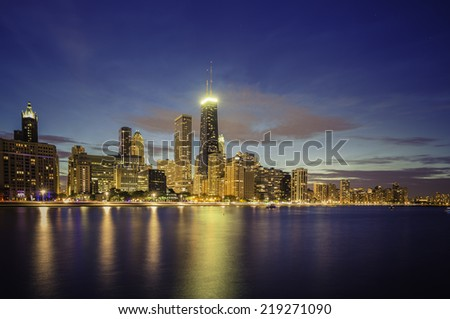 Chicago Downtown skyline by dusk - stock photo
