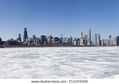 Chicago downtown skyline in the winter with clear sky - stock photo