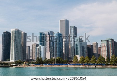 Chicago downtown skyline looking across Lake Michigan