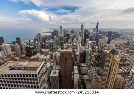 Chicago downtown skyline with beautiful cloud.