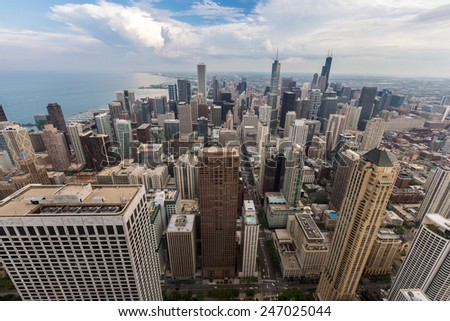 Chicago downtown skyline with beautiful cloud. - stock photo