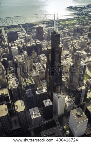 Chicago Downtown skyscrapers high angle view  - stock photo