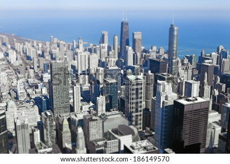 Chicago Downtown (Tilt Shift Effect)  - stock photo