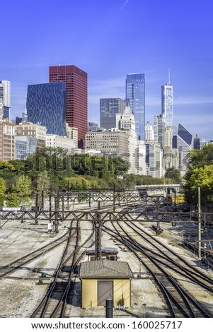 Chicago downtown with railway tracks in sunny day