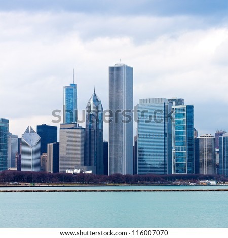 Chicago Downtown With Stormy Sky - stock photo