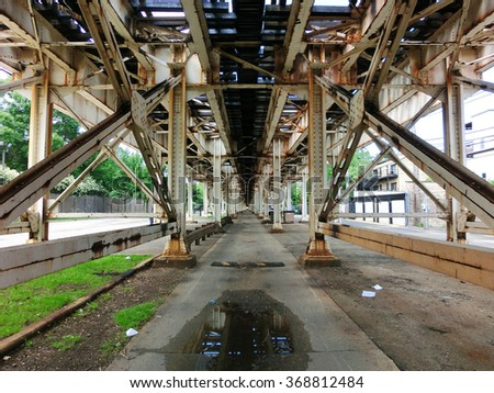 Chicago el tracks from underneath centered - landscape photo - stock photo
