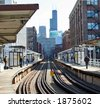 Chicago Elevated Train headed for the Loop - stock photo