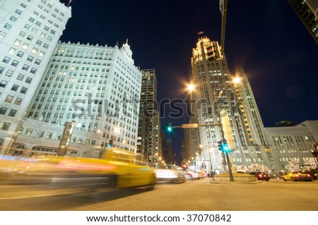 Chicago Evening Traffic and city life - stock photo