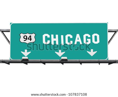 Chicago 94 expressway way sign with hand made font. - stock photo