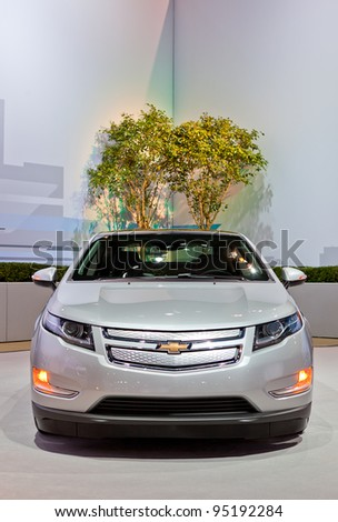 CHICAGO - FEB 9: A chevy volt on display at the 2012 Chicago Auto Show Media Preview on February 9, 2012 in Chicago, Illinois. - stock photo